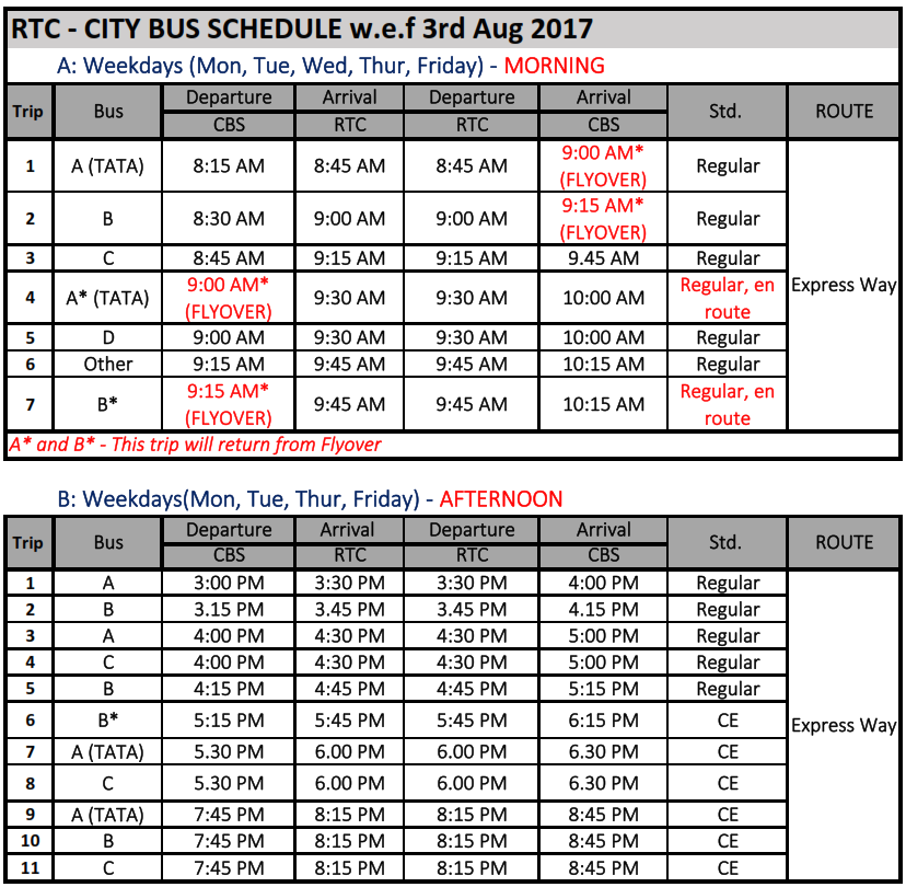 RTC CITY BUS SCHEDULE 3rd Aug 2017